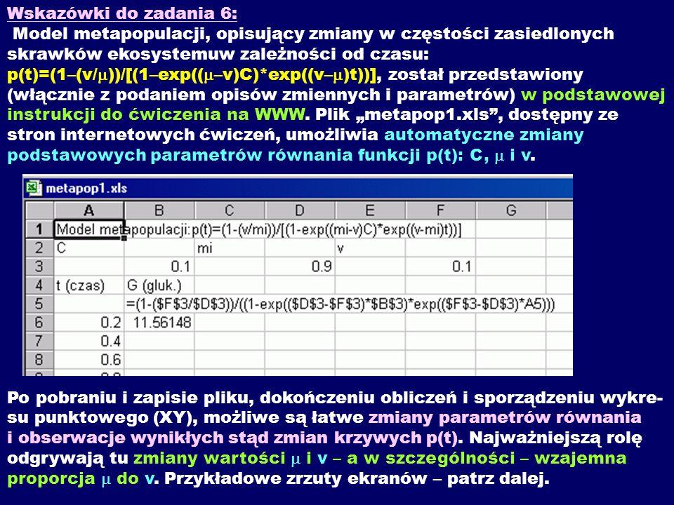 Wskazówki do zadania 6: Model metapopulacji, opisujący zmiany w częstości zasiedlonych skrawków ekosystemuw zależności od czasu: p(t)=(1–(v/m))/[(1–exp((m–v)C)*exp((v–m)t))], został przedstawiony (włącznie z podaniem opisów zmiennych i parametrów) w podstawowej instrukcji do ćwiczenia na WWW.